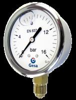 Manómetros para agua riego, calderas, motores en acero inoxidable