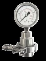 Manómetro con separador de membrana sanitario y brida