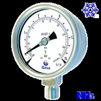 Manómetros para refrigeración de amoniaco todo en inoxidable M0702