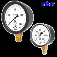 Ventómetros con escala en milibares para bajas presiones con caja de acero negro