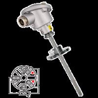 Sonda de temperatura PT100 (RTD) cabezal con conexión eléctrica sencilla y brida