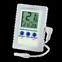 termómetro digital con sonda cable y alarma
