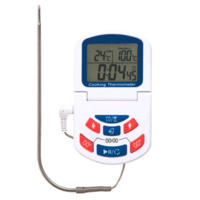 Digital oven thermometer with alarm, timer and stainless steel probe