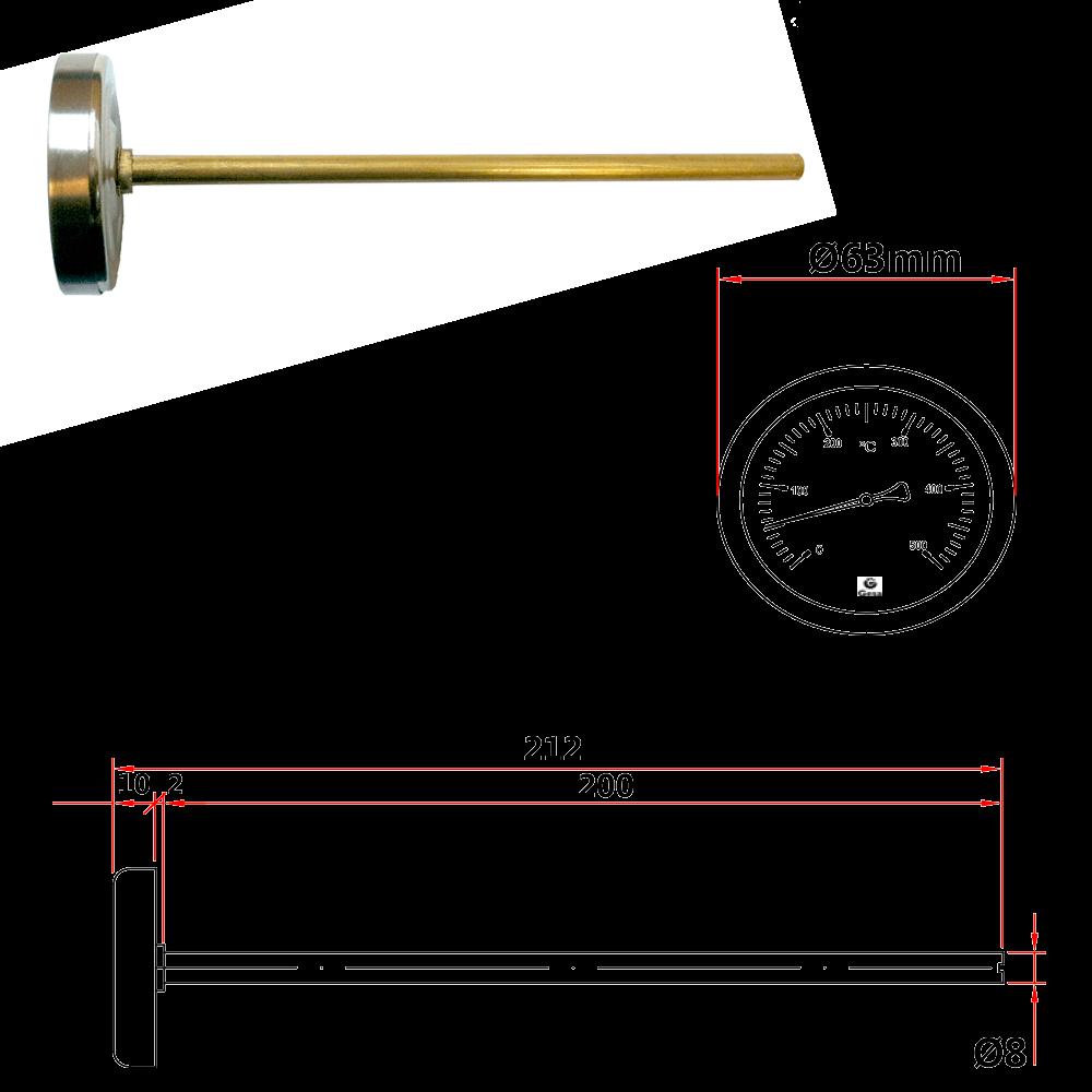 Term metro bimet lico para hornos con v stago de lat n d42 - Termometros para hornos de lena ...