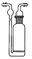 Frasco lavador de gases con placa de 65 mm. de diámetro soldada al cuerpo